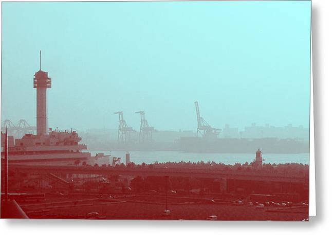 Metropolis Greeting Cards - Tokyo Port Greeting Card by Naxart Studio