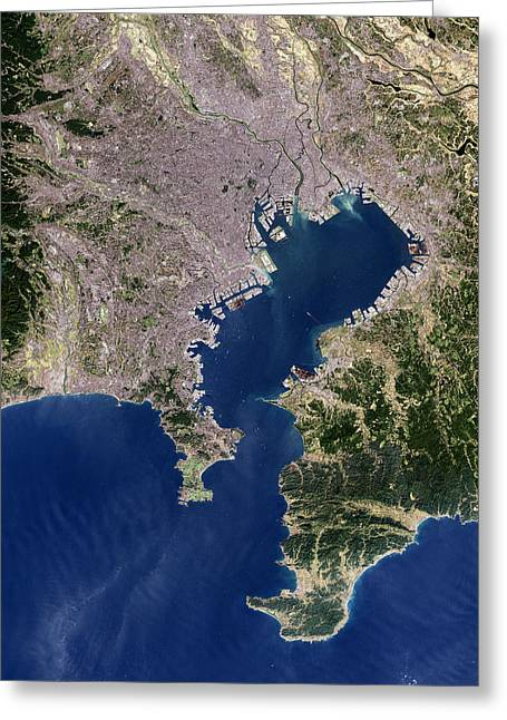 Urbanisation Greeting Cards - Tokyo, Satellite Image Greeting Card by Planetobserver