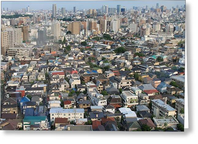 Tokyo Skyline Greeting Cards - Tokyo Sprawl Greeting Card by Jerry Patterson