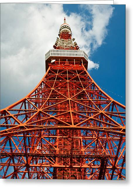 Observer Greeting Cards - Tokyo tower face cloudy sky Greeting Card by Ulrich Schade