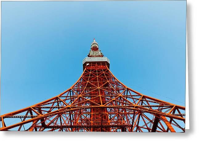 Observer Photographs Greeting Cards - Tokyo tower faces blue sky Greeting Card by Ulrich Schade