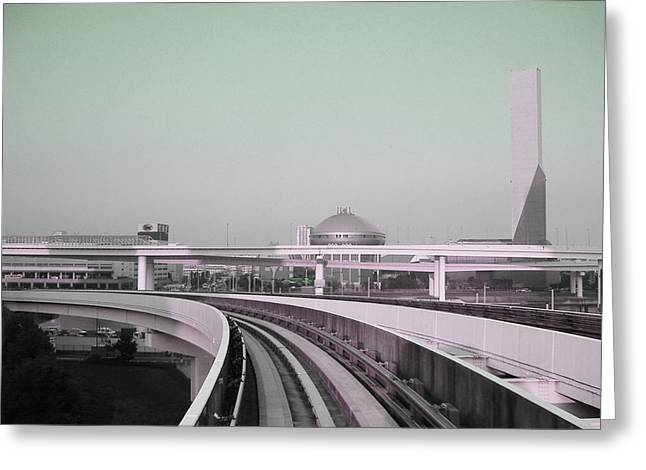 Contemporary Architecture Greeting Cards - Tokyo Train Ride 2 Greeting Card by Naxart Studio