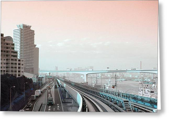 Metropolis Greeting Cards - Tokyo Train Ride 3 Greeting Card by Naxart Studio