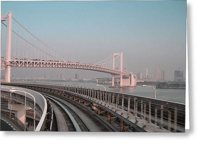 Metropolis Greeting Cards - Tokyo Train Ride 4 Greeting Card by Naxart Studio