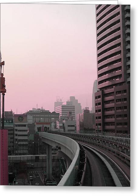 Metropolis Greeting Cards - Tokyo Train Ride 6 Greeting Card by Naxart Studio
