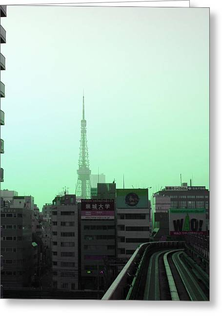 Metropolis Greeting Cards - Tokyo Train Ride 7 Greeting Card by Naxart Studio