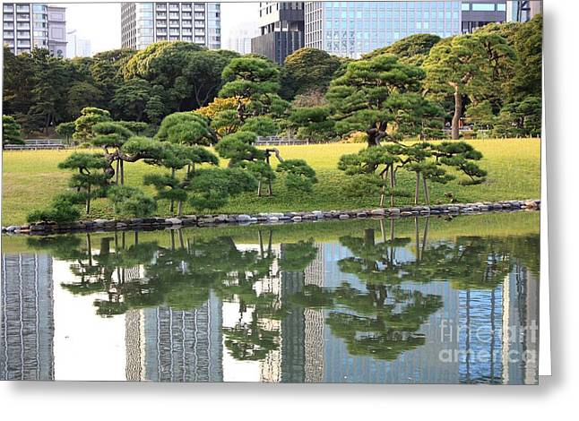 Pond In Park Greeting Cards - Tokyo Trees Reflection Greeting Card by Carol Groenen