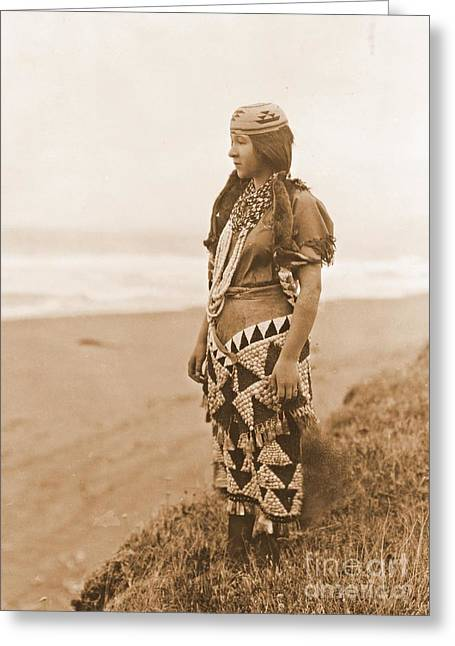 Tolowa Womans Primitive Dress Greeting Card by Padre Art