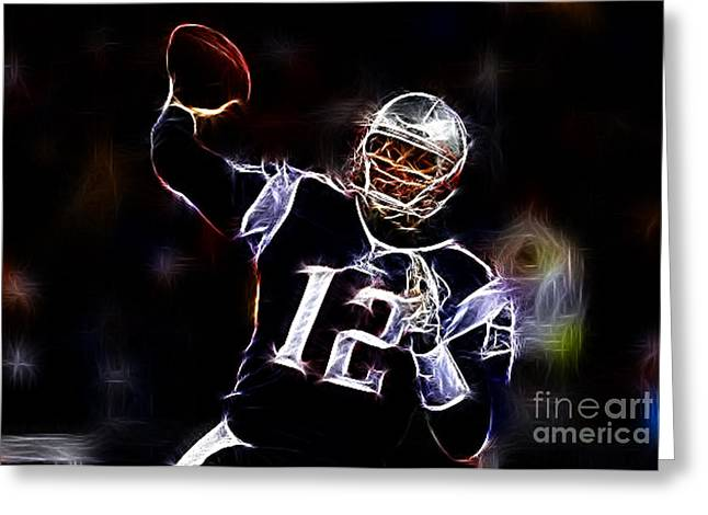 National Football League Greeting Cards - Tom Brady - New England Patriots Greeting Card by Paul Ward