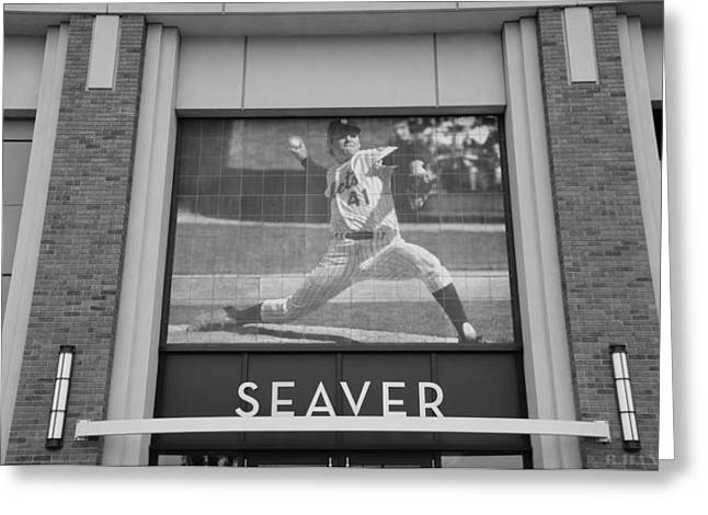 Tom Seaver Greeting Cards - TOM SEAVER 41 in BLACK AND WHITE Greeting Card by Rob Hans