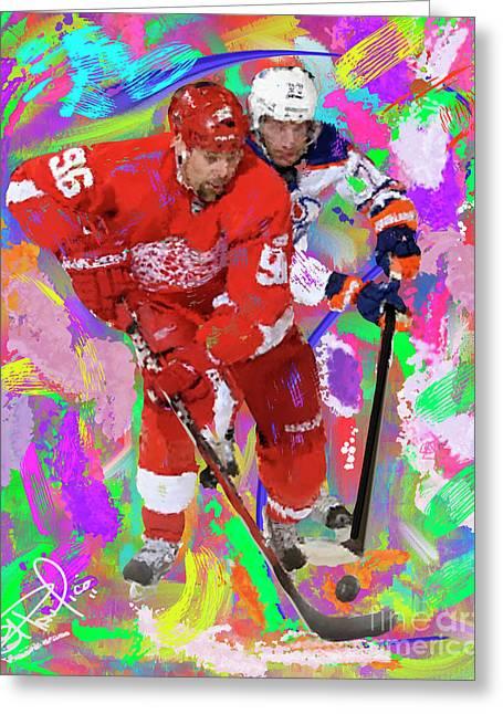 Hockey Paintings Greeting Cards - Tomas Holstrum Greeting Card by Donald Pavlica