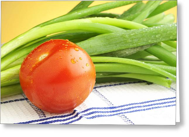 Cloth Greeting Cards - Tomato and green onions Greeting Card by Blink Images