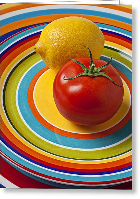 Sour Greeting Cards - Tomato and lemon  Greeting Card by Garry Gay
