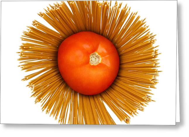 Italian Restaurant Greeting Cards - Tomato and pasta Greeting Card by Blink Images