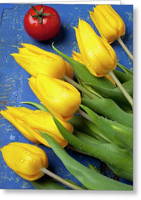 Fresh Produce Greeting Cards - Tomato and tulips Greeting Card by Garry Gay