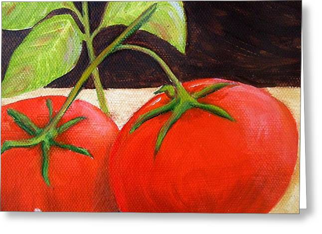 Tomato Basil And Garlic Greeting Card by Pauline Ross