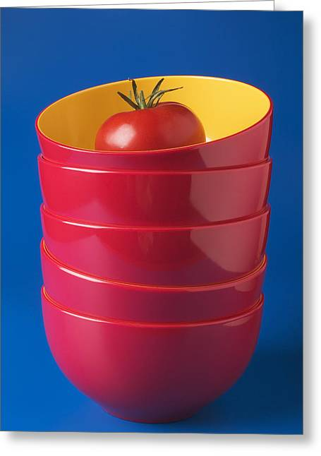 Tomato Greeting Cards - Tomato In Stacked Bowls Greeting Card by Garry Gay