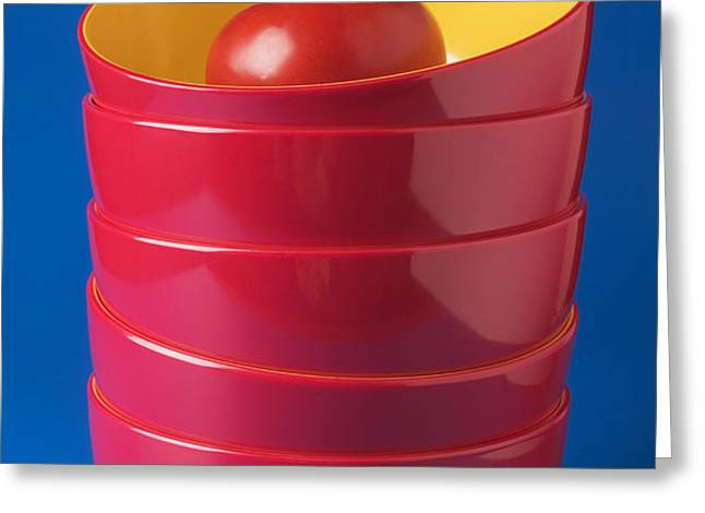 Tomato In Stacked Bowls Greeting Card by Garry Gay