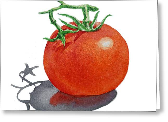 Crops Paintings Greeting Cards - ArtZ Vitamins Tomato Greeting Card by Irina Sztukowski
