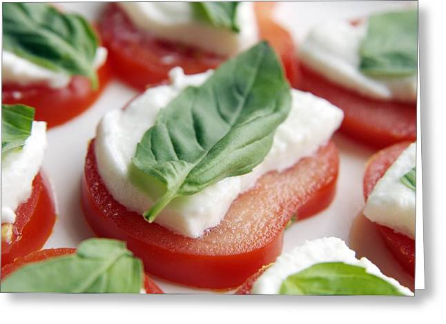 Mozzarella Greeting Cards - Tomato, Mozzarella And Basil Salad Greeting Card by Johnny Greig