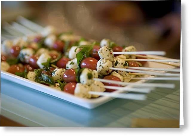 Mozzarella Greeting Cards - Tomato, Mozzarella, Basil, Kabobs Greeting Card by David Evans