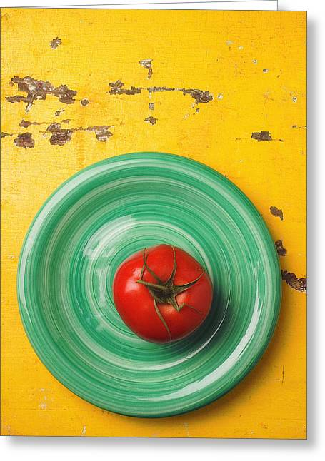 Tomato On Green Plate Greeting Card by Garry Gay