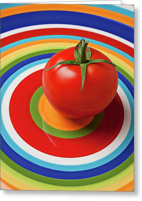 Vegetables Greeting Cards - Tomato on plate with circles Greeting Card by Garry Gay