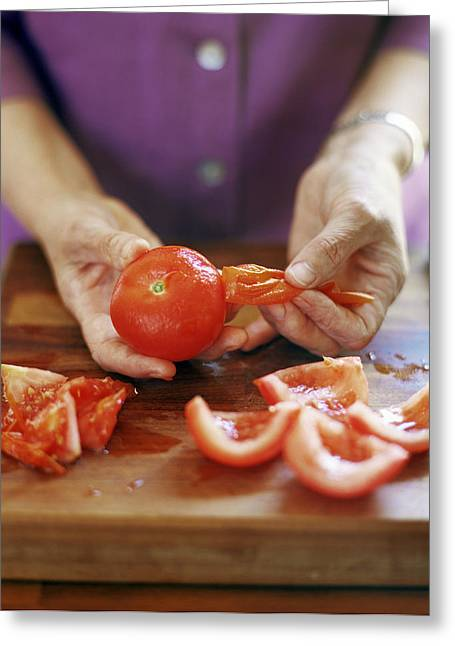 Consume Greeting Cards - Tomato Preparation Greeting Card by David Munns