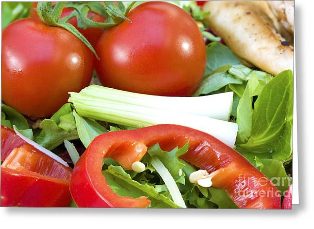Romaine Greeting Cards - Tomato salad close up Greeting Card by Simon Bratt Photography LRPS