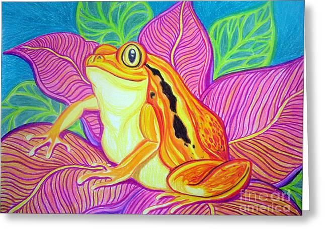 Amphibians Drawings Greeting Cards - Tomatoe Frog Greeting Card by Nick Gustafson