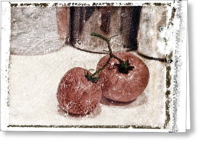 Polaroid Transfer Greeting Cards - Tomatoes 1 Greeting Card by Patrick M Lynch