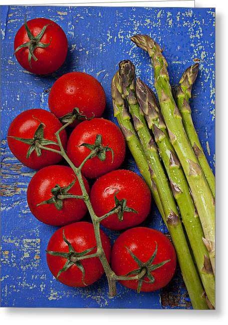 Wooden Table Greeting Cards - Tomatoes and asparagus  Greeting Card by Garry Gay