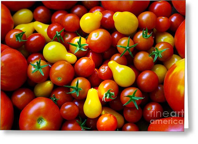 Tomatoes Background Greeting Card by Carlos Caetano