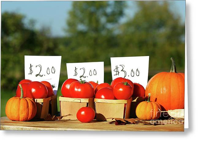 Fresh Produce Greeting Cards - Tomatoes for sale Greeting Card by Sandra Cunningham