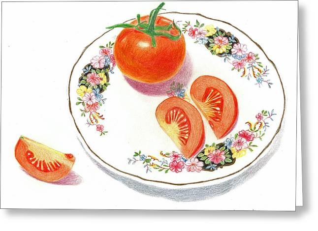 Tomato Drawings Greeting Cards - Tomatoes Greeting Card by Loraine LeBlanc
