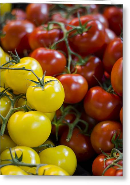 Borough Market Greeting Cards - Tomatoes on the Vine Greeting Card by Heather Applegate