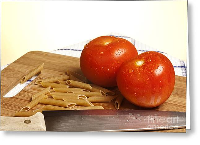 Table-cloth Greeting Cards - Tomatoes pasta and knife Greeting Card by Blink Images