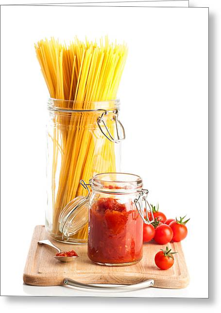 Kitchen Photos Greeting Cards - Tomatoes Sauce and  Spaghetti Pasta  Greeting Card by Amanda And Christopher Elwell