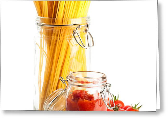 Tomatoes Sauce and  Spaghetti Pasta  Greeting Card by Amanda And Christopher Elwell