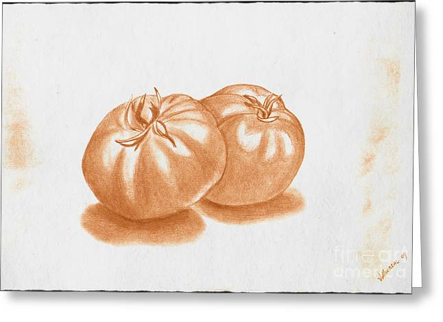 Tomato Drawings Greeting Cards - Tomatoes Greeting Card by Tommy Villarreal