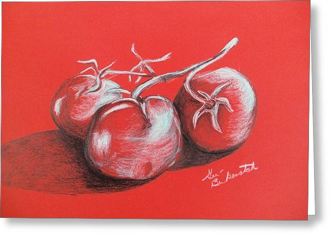 Tomato Drawings Greeting Cards - Tomatos On Red Greeting Card by Geri Berkenstock
