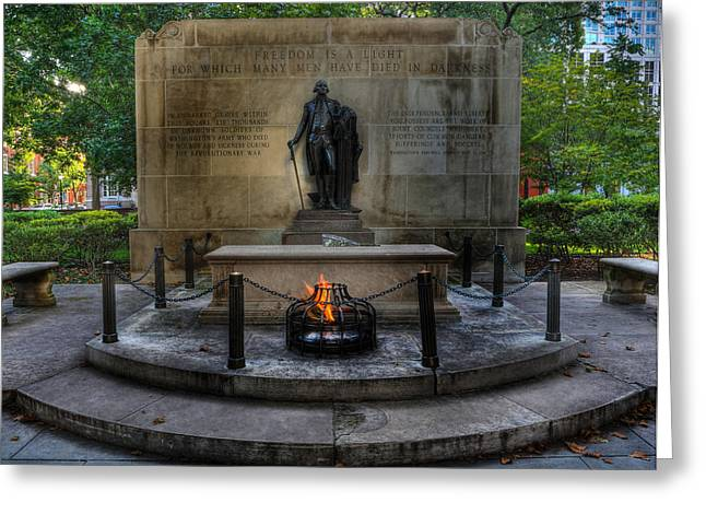 Statue Portrait Photographs Greeting Cards - Tomb of the Unknown Revolutionary War Soldier II - George Washington  Greeting Card by Lee Dos Santos