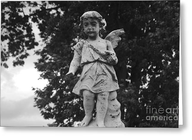 Seraphim Angel Greeting Cards - Tombstone Angel BW Greeting Card by J M Lister