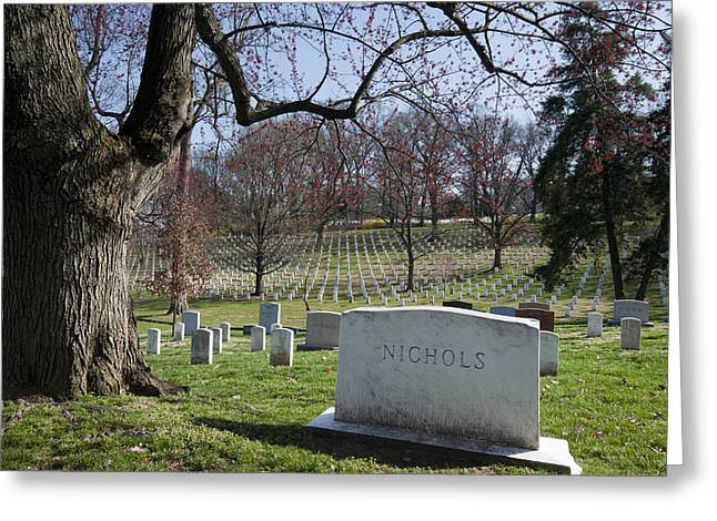 Place Of Burial Greeting Cards - Tombstone At Arlington National Greeting Card by Greg Dale