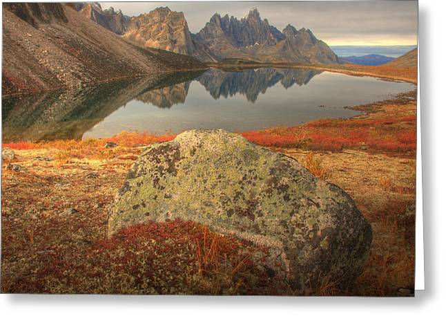 Tombstone Mountain Reflected In Talus Greeting Card by Robert Postma