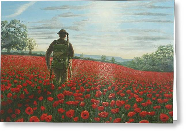Ww1 Paintings Greeting Cards - Tommy 2 Greeting Card by Richard Harpum