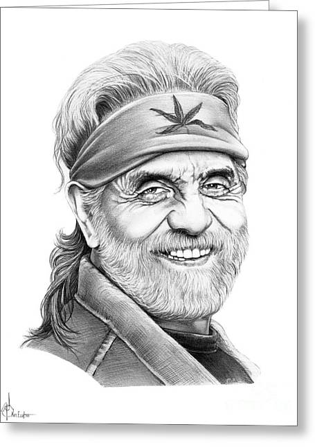 Comedian Greeting Cards - Tommy Chong Greeting Card by Murphy Elliott