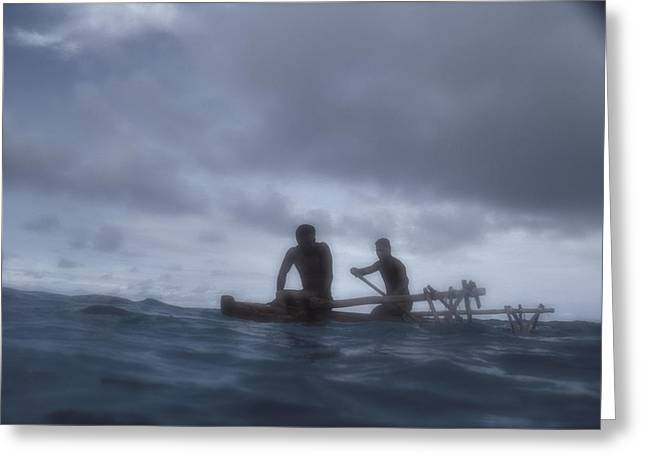 Tropical Oceans Greeting Cards - Tongan Canoe Greeting Card by Mark Wagoner