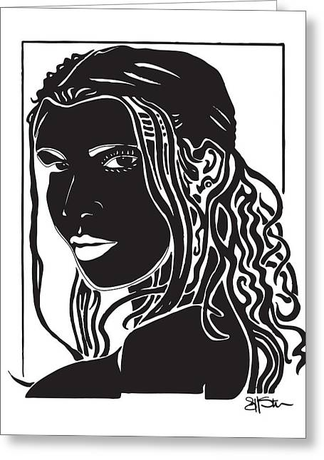 Headshot Drawings Greeting Cards - Toni Greeting Card by Jeff Stein