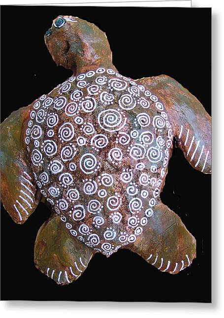 Turtle Sculptures Greeting Cards - Toni the Turtle Greeting Card by Dan Townsend